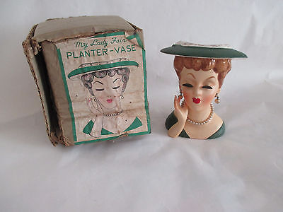 Vintage Lady Head Vase NEW IN BOX Japan