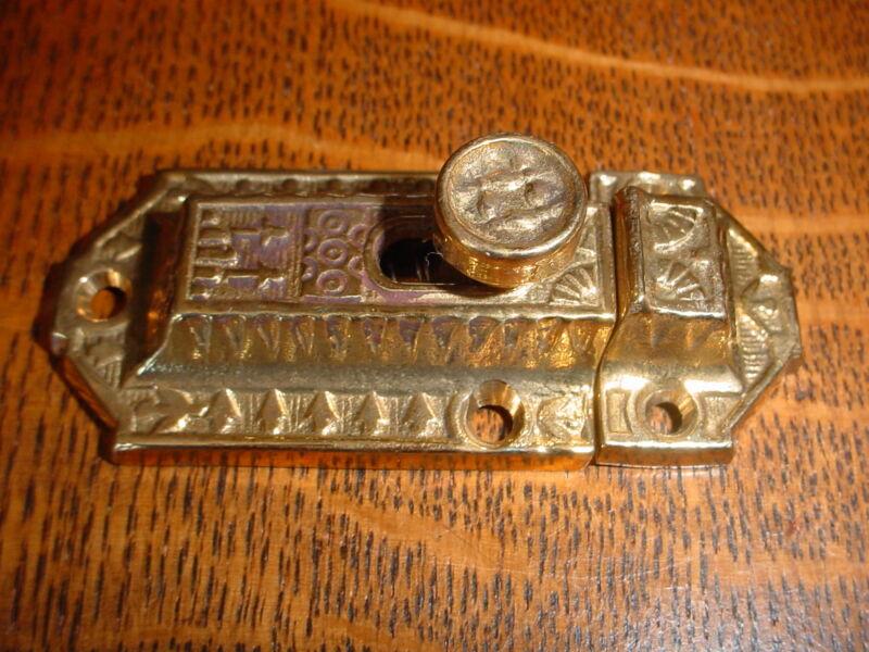 Ornate Victorian Style Cast Brass Cabinet/Cupboard Latch/Catch, slide style