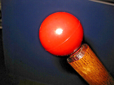 MW.159M: ANTIQUE RED BAKELITE HANDLE WITH ALL ASH WOOD WALKING STICK CANE
