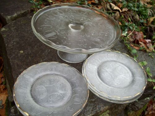 """Vintage Jeannette Glass Harp 10"""" Cake Stand and RARE 6 Matching Dessert Plates"""