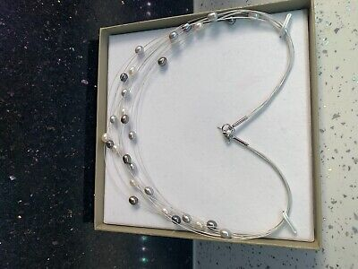 Honora Freshwater Floating 12 Strand grey,silver,white pearl necklace