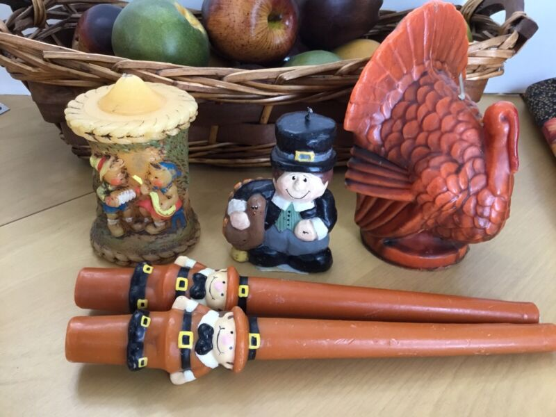 Vintage Thanksgiving Autumn Candle (Mixed Lot Of 5) Suni,Alpine Originals,Eddie.