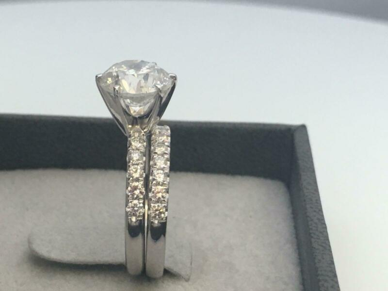 Diamond Ring Band Set 2.25 Carats Estate Real 14k White Gold Si2 D Size 6.5 8 9
