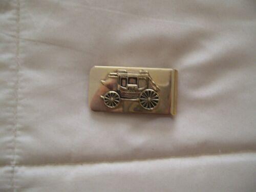 Vintage Wells Fargo Gold Tone Raised Stagecoach Embossed Money Clip