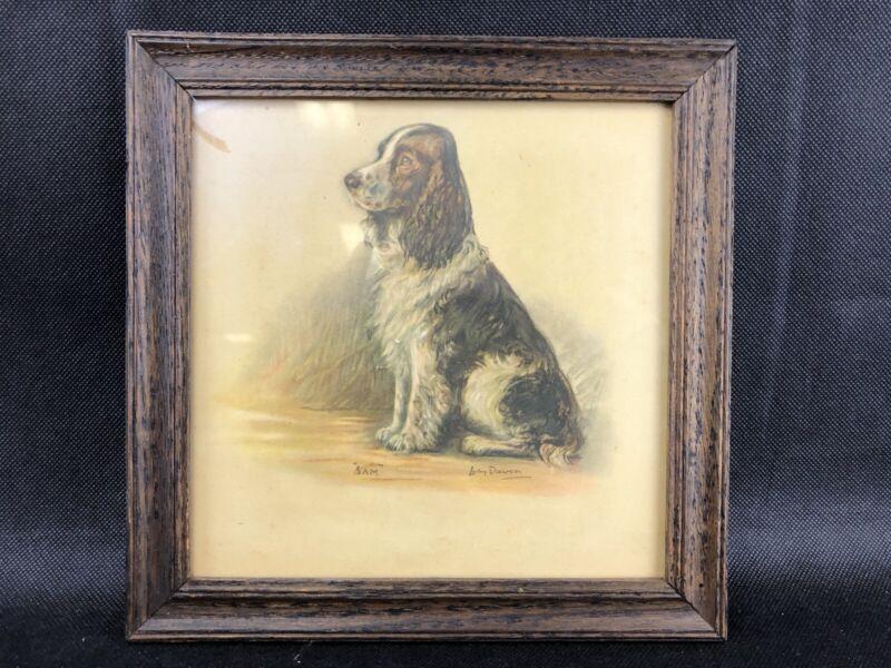 "Antique Springer Spaniel Art  Lucy Dawson Illustration ""Sam"" Framed 8.5"""