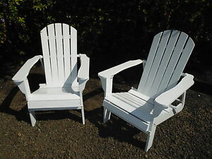 2 x New Timber Adirondack Style Outdoor Deck Chair Paddle Cape Cod White Folding