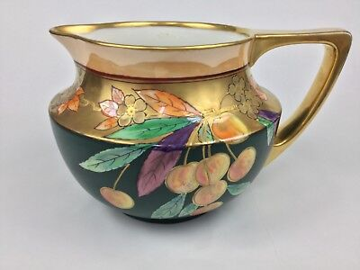 Pickard JPL France Cherries Gold Luster Hand-Painted Pitcher Green Purple Lovely