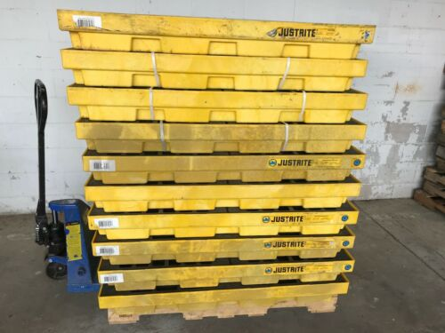 """LOT of 10 Unused Justrite 4-Drum Spill Containment Pallet 49 gal 28656 49x49"""""""