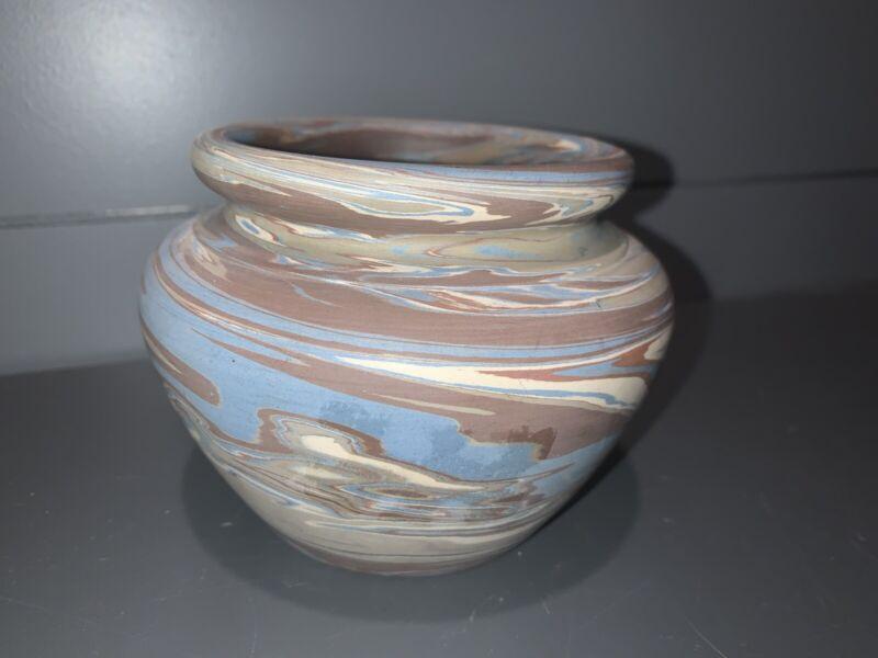 "Niloak Missionware Swirl Pottery Vase 1st Mark 1910 - 3.5"" Tall"