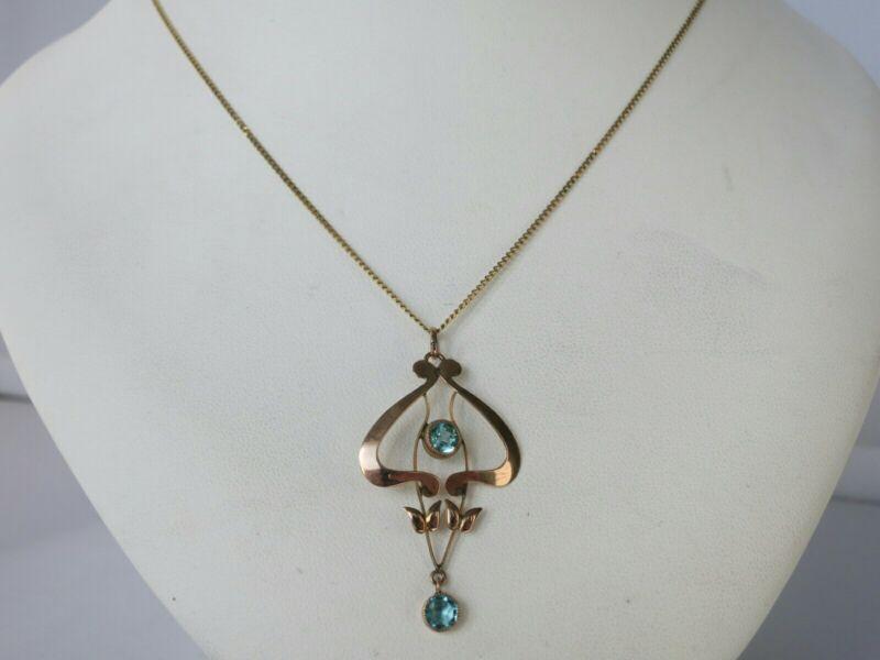 Beautiful Antique Art Nuveau 9ct Gold and Blue Zircon Pendant