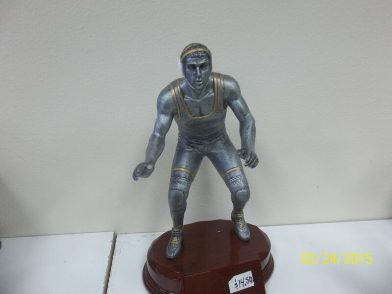 """wrestling trophy, includes engraving, approximately 8"""" high, nice size award"""