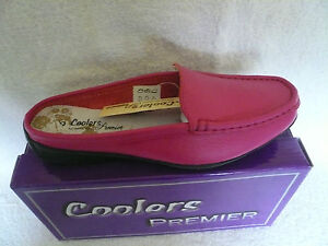 LADIES LOAFERS MULES MOCCASINS BACKLESS SHOES PINK LEATHER SIZE 5UK BY COOLERS
