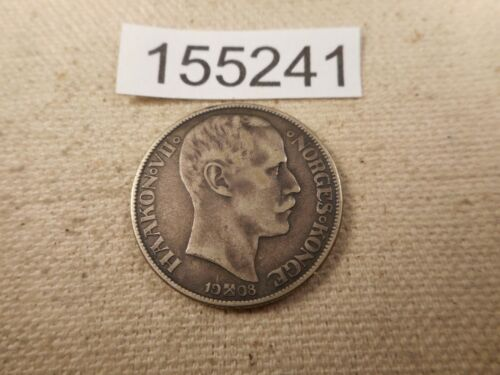 1908 with Hammers Norway 1 Krone Very Nice Collector Grade Album Coin - # 155241