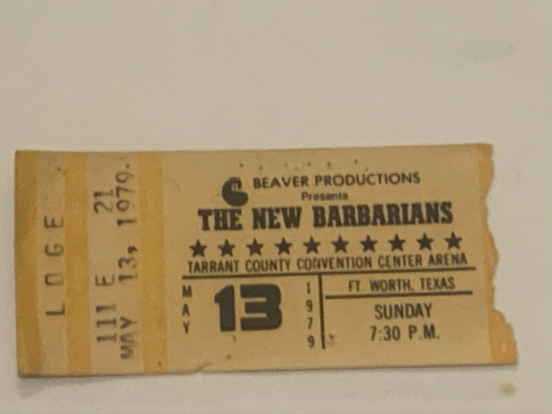 The Barbarians 5/13/1979 Ticket Stub Tarrant County Convention Center Arena
