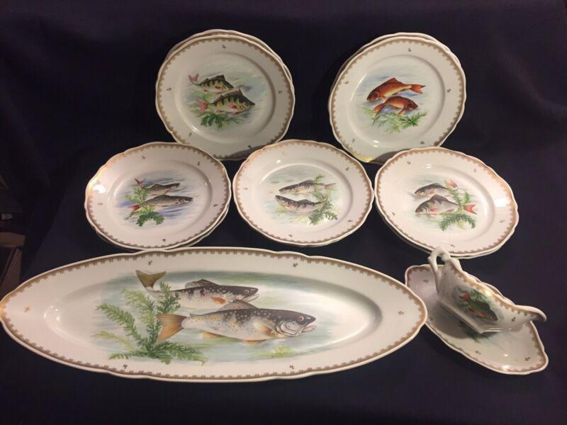 """Vintage Fish Design Set: 10 Plates, 24"""" Long Platter & Gravy Boat Made In France"""