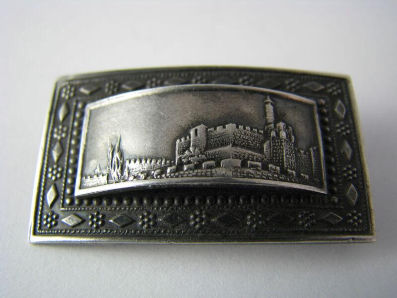 """STERLING SILVER BROOCH PIN """"Old City of Jerusalem"""" Israel ca1960"""