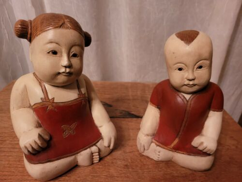Vintage Asian Carved Wooden Boy and Girl Statues