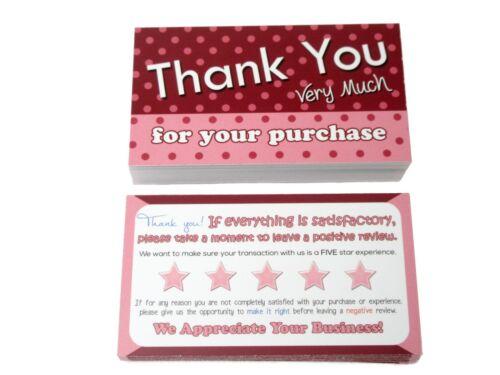 50 Thank You Cards Pink for eBay Poshmark Mercari Amazon etsy