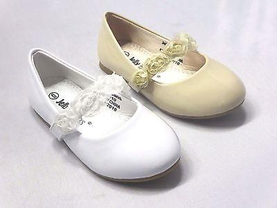 Girl Flats (Let) Kid Flower Girl Pageant Dress Shoes White - Flower Girl Shoes White Flats