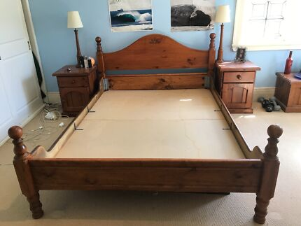 Oakwood Queen Bed Frame set with 2x bedside table and 2x lamp