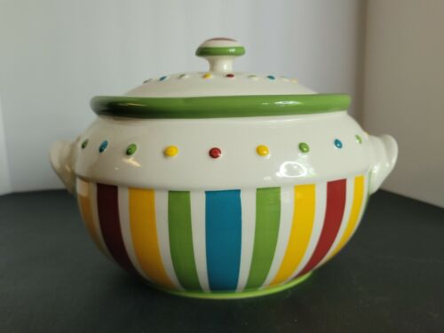 Celebrating Home Stoneware Dots and Stripes Cookie Jar