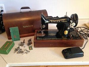1951 Singer 99-13 Sewing Machine with Case & Attachments