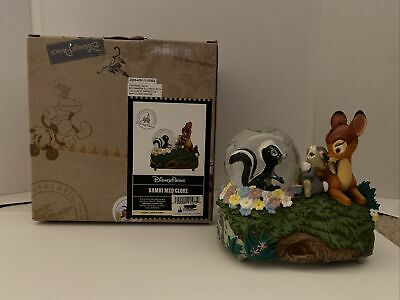 "Rare WALT DISNEY Parks BAMBI MED SNOW GLOBE Plays ""Little April Showers"" w/ Box"