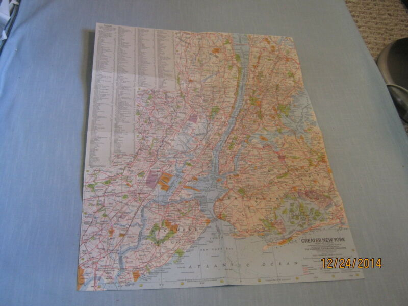 VINTAGE GREATER NEW YORK + TOURIST MANHATTAN  MAP National Geographic July 1964