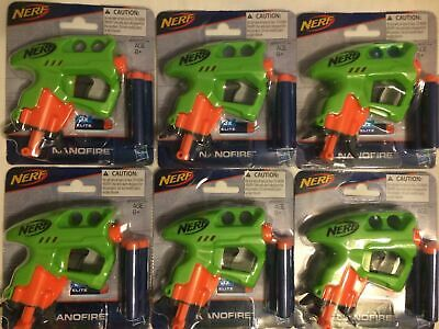 Lot of 6 Nerf Green NANOFIRE Guns Blasters w/ 18 Elite Darts party jolt fill new