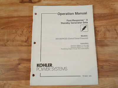Kohler Stand By Generator Sets Operation Manual Models 200-300 Rozd Tp-5633 A