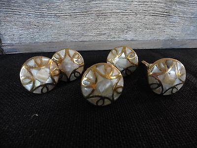 Gold and Iridescent Abalone Shell Knob Drawer Pull ~ Modern Art Deco Geometric