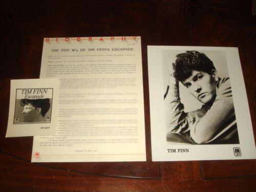 """Rare TIM FINN """"ESCAPADE"""" 1983 A&M RECORDS PRESS KIT - Split Enz, CROWDED HOUSE"""