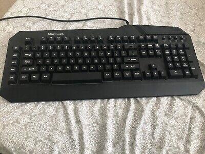 blackweb gaming keyboard, backlit, extra keybinds for better gaming experience.