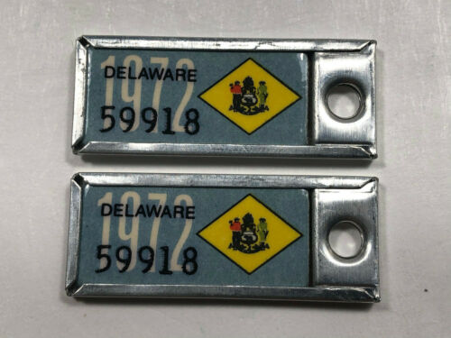 Rare 1972 DELAWARE DAV License Plate MATCHING PAIR Key Ring Tabs  59918