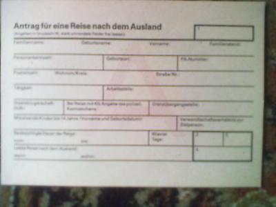 Formular PM 67g DDR Antrag für eine Reise nach dem Ausland