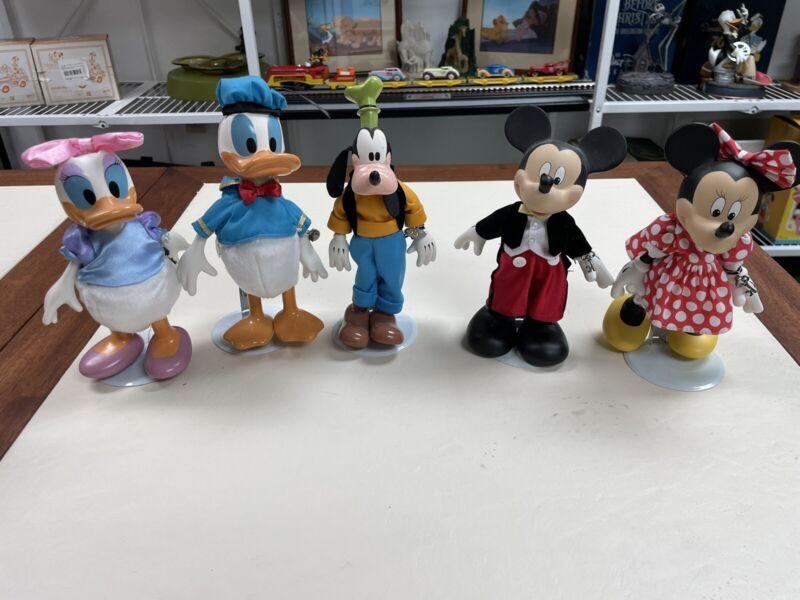 """6 Disney Brass Key Mickey & 2 Minnie, Donald & Daisy Goofy Porcelain Dolls 7.5"""""""