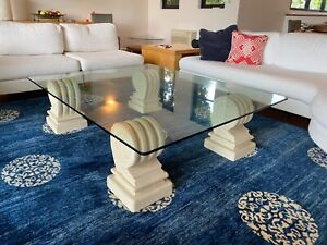 Glass and Sandstone Coffee Table