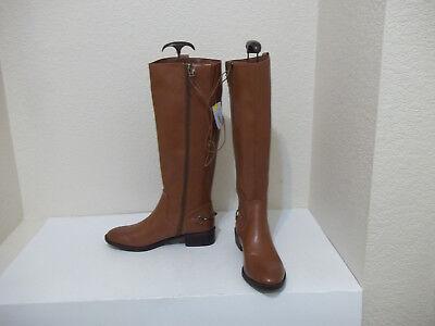 New Women Sam   Libby Perry Cognac Brown Tall Zipper Riding Boots Sz 8 Msrp  50