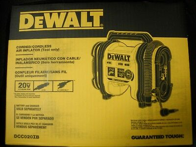 DEWALT DCC020IB 20V Corded Cordless Air Inflator NEW