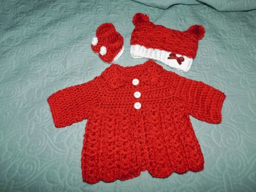 Handmade Infant Girl Crochet Baby Set Sweater Hat Booties Red Reborn Doll