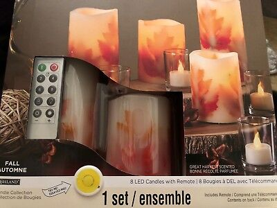 8 Candle Set flickering Wick Flameless Pillar  And Tealights Scented  Led Remote