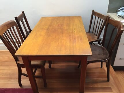 Solid wooden table and 4 eclectic period chairs Enmore 2042 Marrickville Area Preview