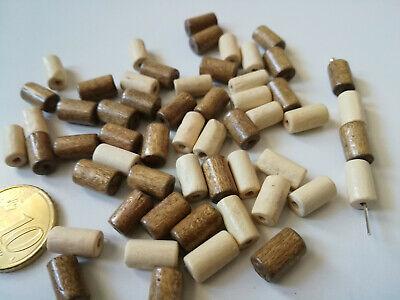 Perlas tubo madera natural 2 tonos X 40 UNIDADES 10 x 6...