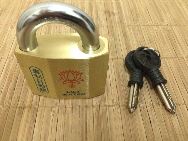 Awesome 12 Pin, Heavy Duty 57mm Lily Water Padlock! 2 Original Keys!