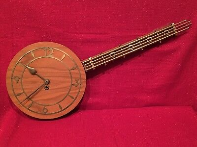 Antique MID CENTURY DANISH MODERN Walnut & Brass Banjo Clock Key Wind Running