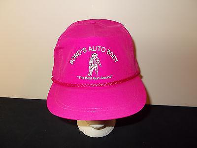 VTG-1980s Bonds Auto Body Best Gun Around rope neon trucker snapback hat