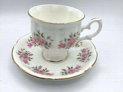 Vtg Crown Staffordshire Bone China LYRIC TUNIS Pink Bands Flowers Dinner Plate