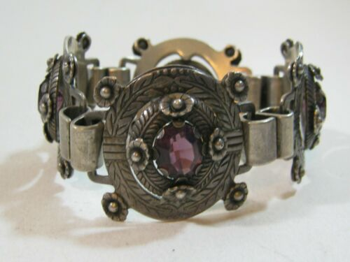 Early Vintage Mexican Silver & Amethyst Bracelet ~ Extraordinary Ornate Design