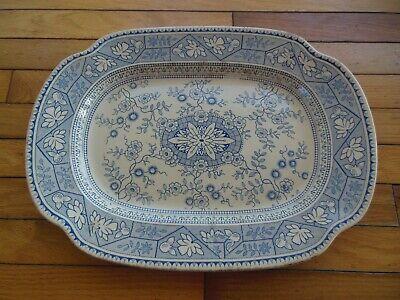 Antique LS & S GORDON NO. 26100 Blue Earthenware Large Platter Aesthetic
