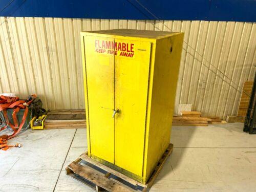 Justrite 55 Gallon Drum Flammable Liquid Yellow Storage Cabinet Manual 2 Door